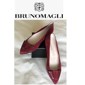 Bruno Magli Leather Suede Pointed Toe Flats